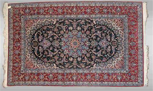 113: A Persian Esfahan Rug, with silk and