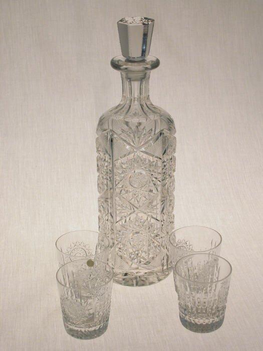 502: 5pcs. American Brilliant Cut Glass.