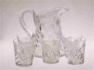 6pcs. American Brilliant Cut Glass.