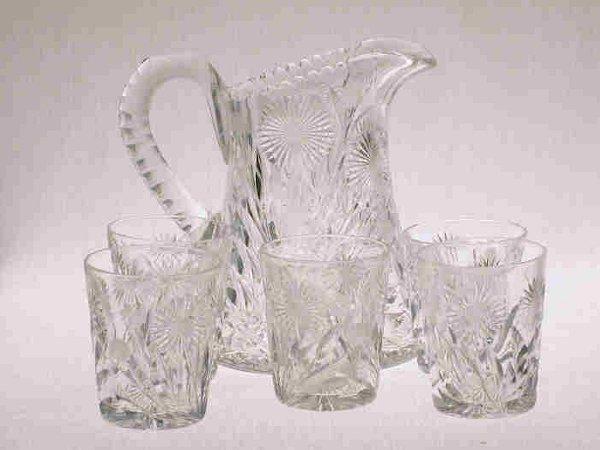 515: 6pcs. American Brilliant Cut Glass.