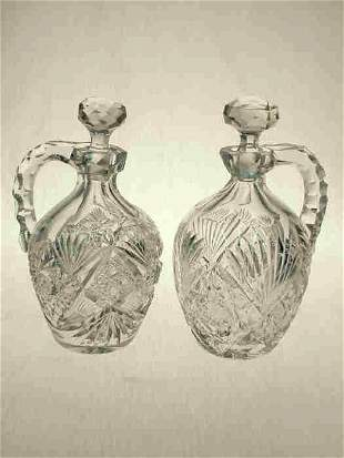2 Whiskey Decanters cut with hobstars