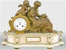 613: Figural mantel clock; Italian alabaster