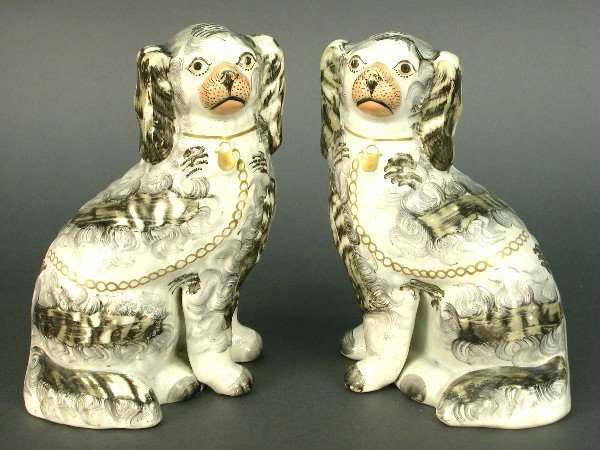2300: Pair of grey and white Staffordshire sp