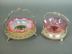 (2) Victorian Glass Baskets In Silver-p