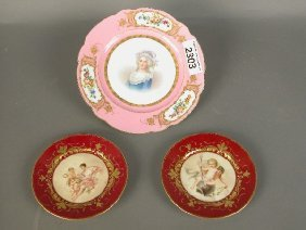 2303: Sevres style portrait plate with pink g