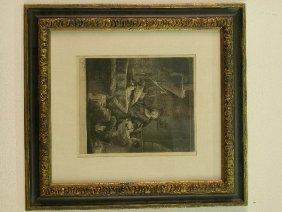 2305: Rembrandt etching in parcel gilt frame.