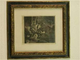 Rembrandt etching in parcel gilt frame.