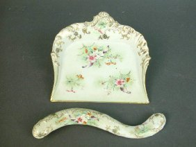 2306: Porcelain crumb tray and brush.  Both w