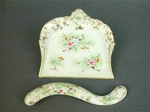 Porcelain crumb tray and brush. Both w