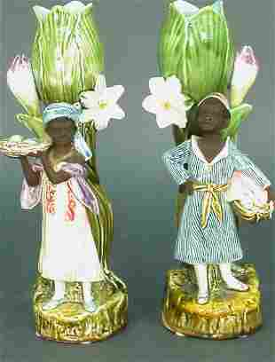 Pair of Majolica vases with black figur