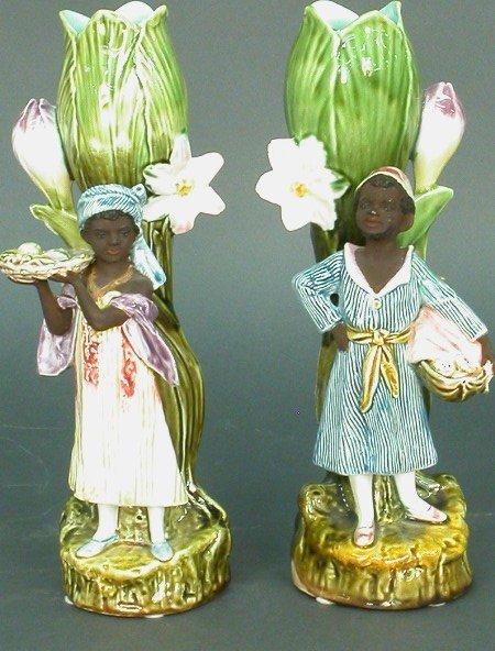 2310: Pair of Majolica vases with black figur
