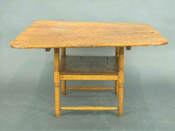 2313: American pine chair table with turned s