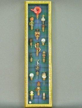 2314: Custom gilt framed shadowbox with fifte