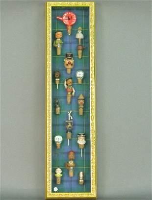 Custom gilt framed shadowbox with fifte