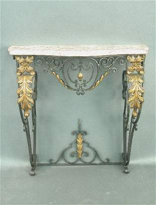Wrought iron parcel gilt console table