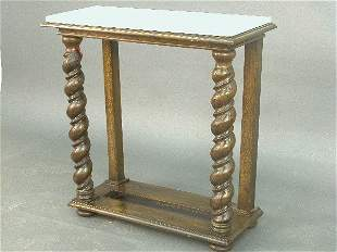 Marble topped hall table with twist fro