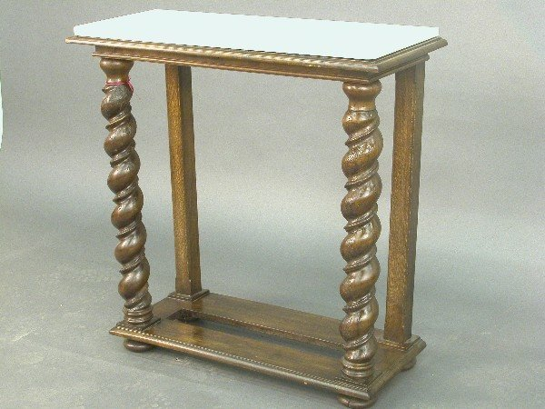 2317: Marble topped hall table with twist fro