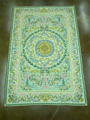 Needlepoint style rug, floral motif on