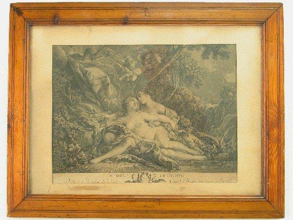 2318: Pair of Pine framed black and white eng