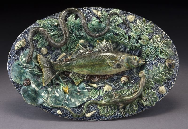 French palissy fish plate attr. Georges Pull