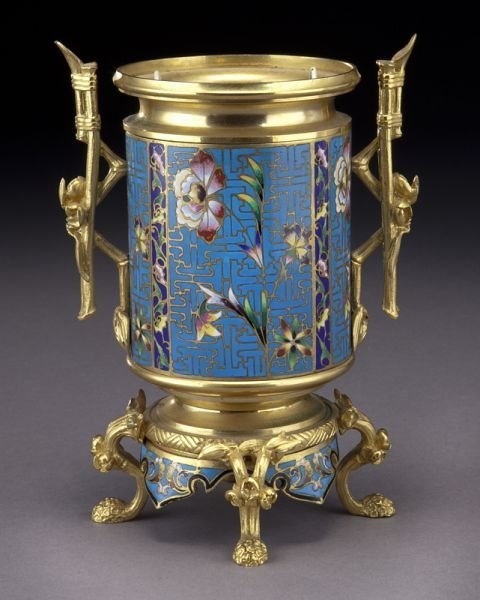 French aesthetic champleve and gilt bronze urn