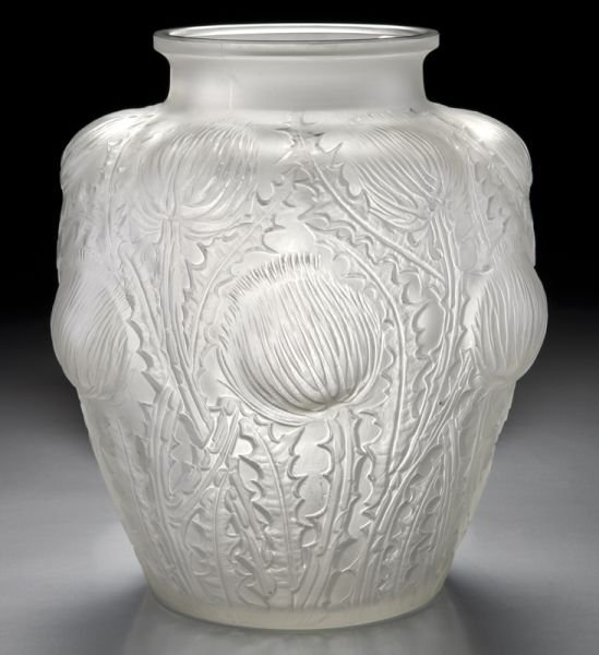 "R. Lalique ""Domremy"" clear and frosted glass vase."