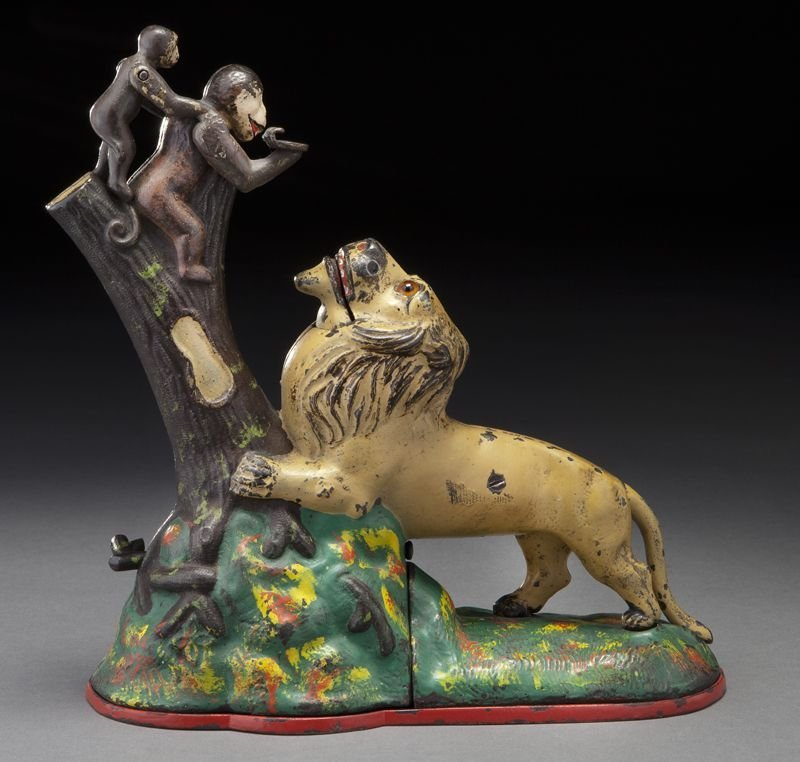 Cast iron Lion and Monkeys mechanical bank,