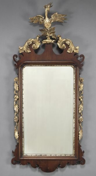 Chippendale style parcel gilt mirror