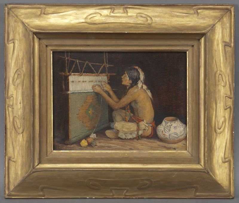 """Eanger Irving Couse, """"The Weaver"""" Oil On Board"""