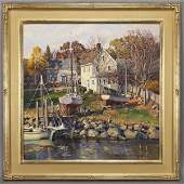 """T.M. Nicholas, """"The Yellow House"""" oil on canvas,"""