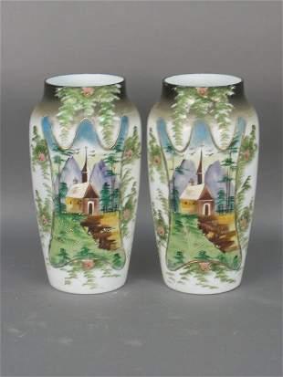 Pair Bristol glass decorated vases
