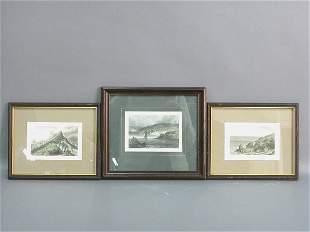Set of three English engravings in
