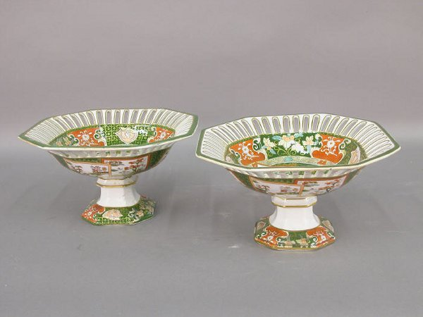 12: Pair of Mason's Ashworth footed compote