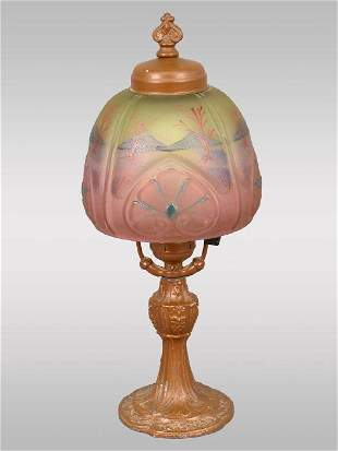 American table lamp w/painted shade