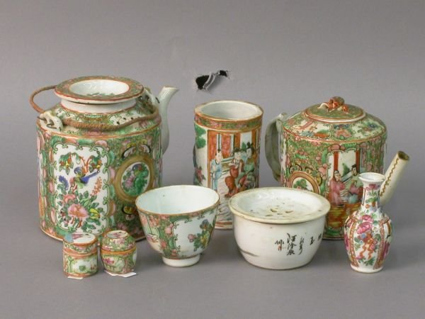 18: Eight Rose Medallion porcelains