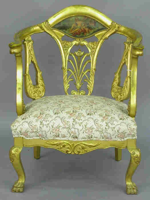 21: French style gilt arm chair.