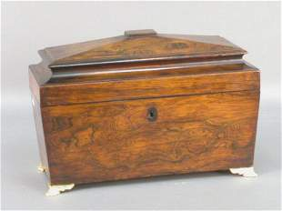 English Regency rosewood tea caddy.