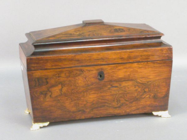 23: English Regency rosewood tea caddy.