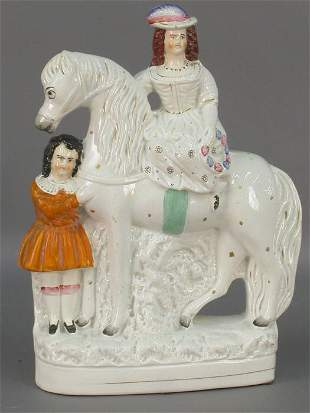 Staffordshire figural of lady on horse