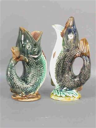Two Majolica fish shaped pitchers.