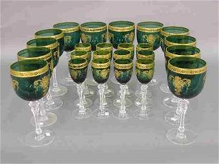 24pcs. Green stemmed glasses with