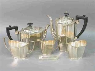 Six piece silverplate tea service