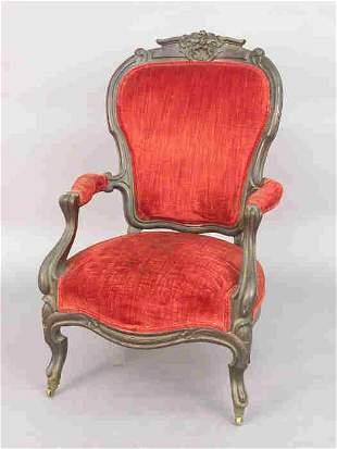 Rococo Revival mahogany armchair with
