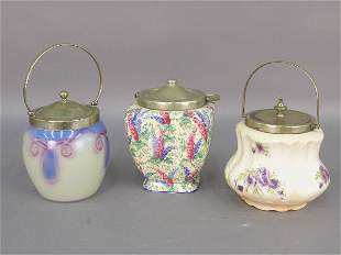 Three English biscuit barrels with