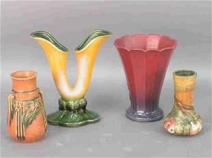 4pcs. Art pottery, Weller, Hull