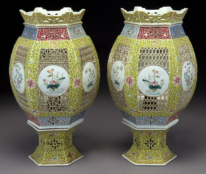 Pr. Chinese reticulated yellow porcelain lanterns,