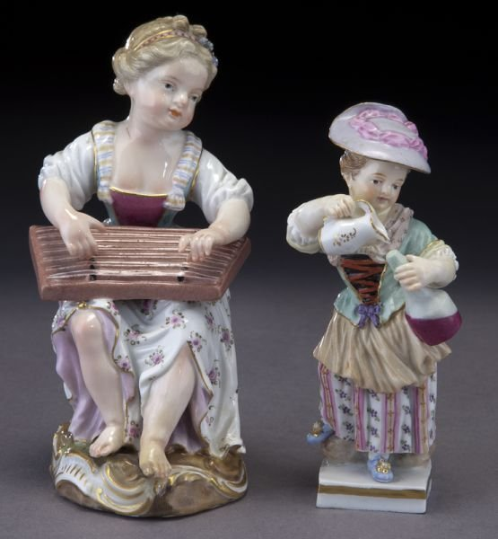 (2) Meissen porcelain figures of ladies,