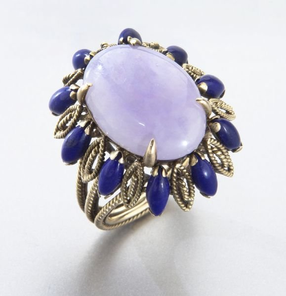 14K and lavender jadeite jade ring,