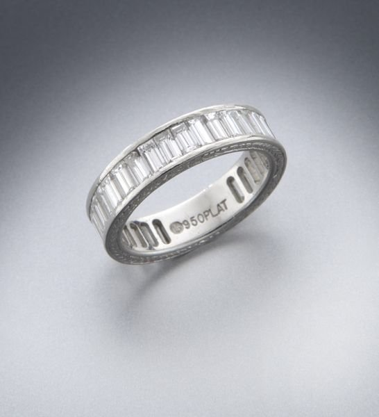 Ladies' platinum and diamond eternity band