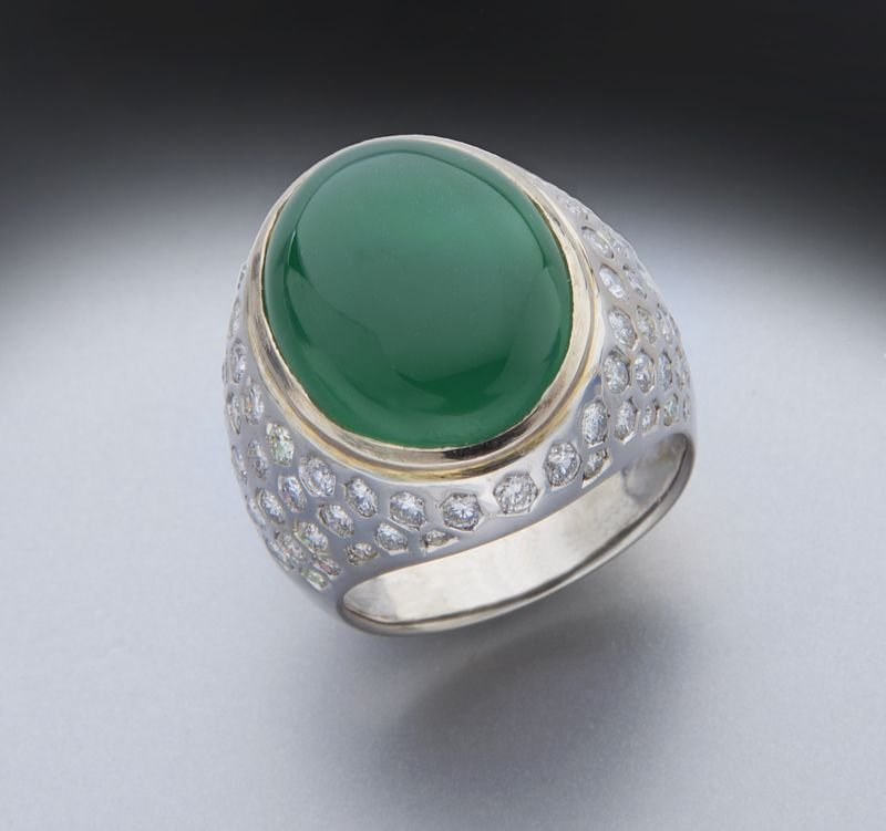 18K gold, diamond and jadeite jade (GIA) ring